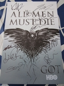 Game of Thrones cast autographed 2014 Comic-Con poster (Nikolaj Coster-Waldau Kit Harington Rory McCann Sophie Turner Maisie Williams)
