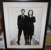 Gillian Anderson & David Duchovny autographed X-Files 16x20 poster size photo matted & framed JSA