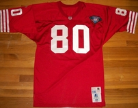 Jerry Rice San Francisco 49ers 1994 Starter Pro Line red stitched game model jersey with NFL 75th Anniversary patch