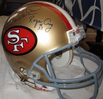 Joe Montana Jerry Rice Dwight Clark Roger Craig autographed San Francisco 49ers authentic full size throwback helmet