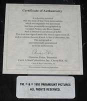 Leonard Nimoy & Brent Spiner autographed Star Trek The Next Generation 8x10 photo in plaque