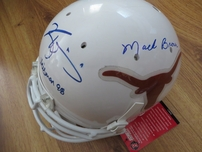 Mack Brown Earl Campbell Ricky Williams Major Applewhite autographed Texas Longhorns full size Schutt game model helmet