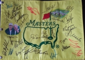 Masters undated golf pin flag autographed by 27 winners Seve Ballesteros Phil Mickelson Jack Nicklaus Arnold Palmer Tom Watson (hand painted)