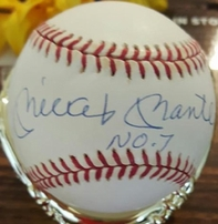 Mickey Mantle autographed Rawlings American League baseball with display case (UDA)