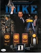 Mike (Coach K) Krzyzewski autographed Duke Blue Devils 4 NCAA Titles photo (JSA)