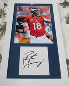 Peyton Manning autographed mat framed with Denver Broncos 8x10 photo UDA