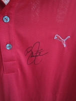 Rickie Fowler autographed red Puma golf shirt NEW WITH TAGS