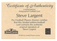 Steve Largent autographed Seattle Seahawks 1996 All Time Greats card