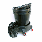 5 Gallon Wash Bucket System with Dolly - BLACK