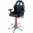 PitStop Furniture Crew Chief Bar Chair-BLACK & RED