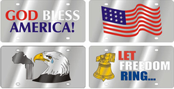Stainless-Style Patriotic License Plates