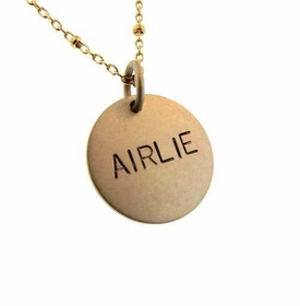 14k gold charm with cable and bead chain necklace