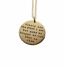 14k gold quote charm necklace