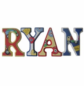 """8"""" hand painted wooden letters block construction"""
