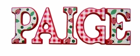 """8"""" hand painted wooden letters block ladybugs & gingham"""