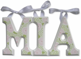 """8"""" hand painted wooden letters block roses & polka dots"""