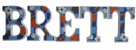 """8"""" hand painted wooden letters-block sports and checks"""