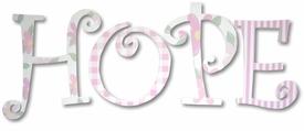 """8"""" hand painted wooden letters-curlz flowers and stripes"""