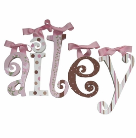 """8"""" hand painted wooden letters-curlz pink and chocolate"""