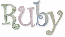 """8"""" hand painted wooden letters-curlz ruby's daisies"""