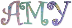 """8"""" hand painted wooden letters-curlz sea creatures"""