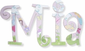 """8"""" hand painted wooden letters-curlz whimsical fairies"""