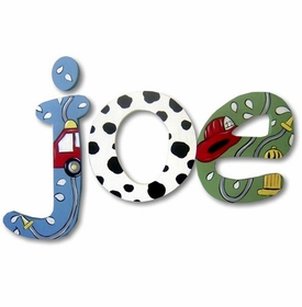 """8"""" hand painted wooden letters jester fireman theme"""