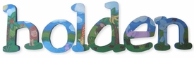 """8"""" hand painted wooden letters - jester jungle"""