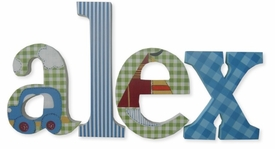 """8"""" hand painted wooden letters-nantucket vehicles & patterns"""