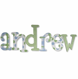 """8"""" hand painted wooden letters whimsical andrew pattern"""