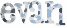 """8"""" hand painted wooden letters whimsical blue polka dot"""