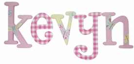 """8"""" hand painted wooden letters whimsical butterflies and gingham"""