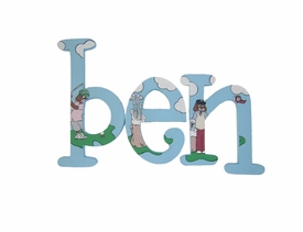 """8"""" hand painted wooden letters whimsical doggie golf"""