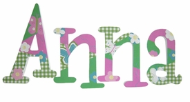 "8"" hand painted wooden letters whimsical gingham garden"