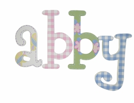 "8"" hand painted wooden letters whimsical happy garden"