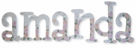 """8"""" hand painted wooden letters whimsical pink and peach roses"""