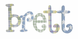 """8"""" hand painted wooden letters whimsical plaids, dots and stars"""