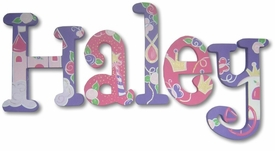 """8"""" hand painted wooden letters whimsical princess theme"""