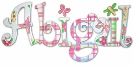 """abigail's plaids and more curlz style 8"""" wooden hanging letters"""
