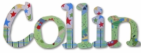 """airplanes and patterns 8"""" wooden hanging letters"""