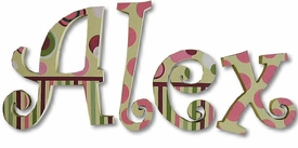 """alex's stripes and dots 8"""" wooden hanging letters"""