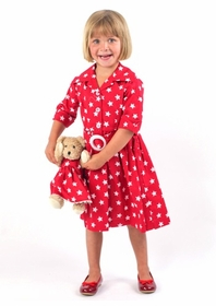 andrea dress  (pink + red star print)