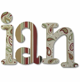 """autumn paisley 8"""" wooden hanging letters"""