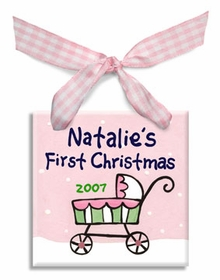 baby's first christmas carriage ornament