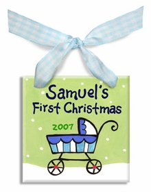 baby's first christmas carriage ornament  (boy)