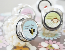 baby shower favor - personalized animal candy jars
