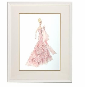 barbie print couture - pink evening dress