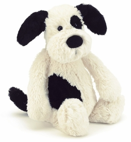 "bashful black and cream puppy 12"" by jellycat"