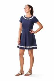basket navy fit and flare dress