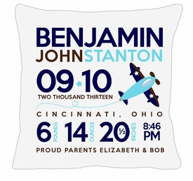 birth announcement new baby airplane pillow